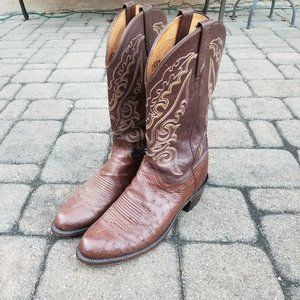 Lucchese 1883 Mens 11B Narrow Smooth Ostrich Boots